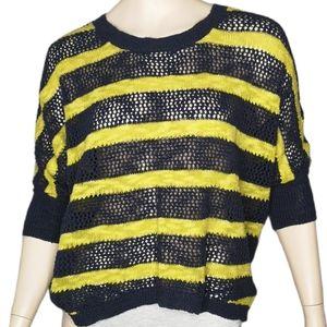 ANTHRO Aphorism Hi-Lo Batwing Striped Sweater